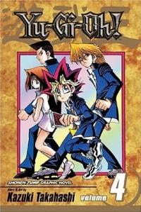 Yu-Gi-Ohin neljännen osan kannessa näemme Anzun ja Jounouchin lisäksi oikean Yuugin ja Hiroto Hondan (takana).