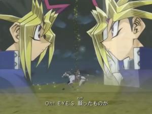 """Kuva """"Yu-Gi-Oh! Duel Monsters"""" -animen viidennestä loppuanimaatiosta. Kuvan tunnelma on voimakas: yhteinen aika on valumassa loppuun kuin tiimalasin hiekka, joten kahden toverin on kohdattava toisensa viimeistä kertaa taistelijoina. Loppukappaleena soi  Yuichi Ikuzawan kappale """"Eye's""""."""